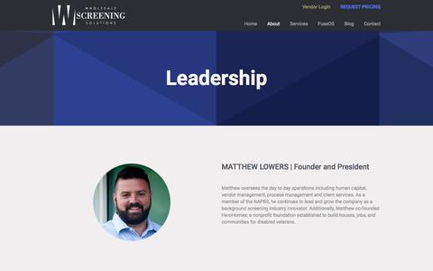 Screenshot of Team Page wholesalescreening.com - Leadership | Wholesale Screening Solutions - captured July 15, 2018