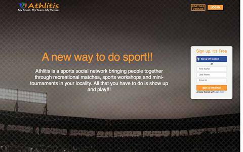 Screenshot of Home Page athlitis.net - ATHLITIS - Book Sports venues, Sports matches, Sports workshops, Sports Tournaments - captured Sept. 30, 2014