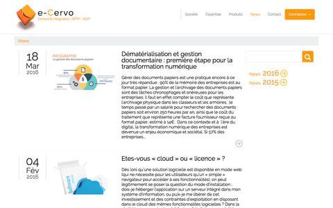 Screenshot of Press Page e-cervo.fr - Nouveautés e-Cervo - captured June 2, 2016