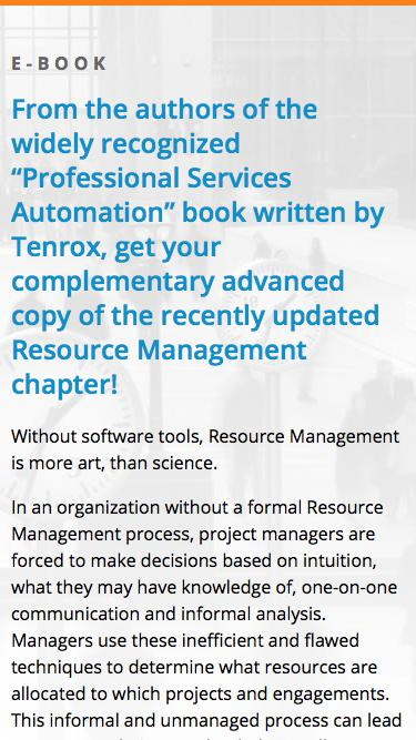Complimentary Tenrox E-Book from the authors of the original PSA Software Book