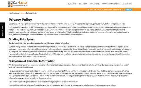 Screenshot of Privacy Page carlotz.com - Privacy Policy | CarLotz - captured March 19, 2017