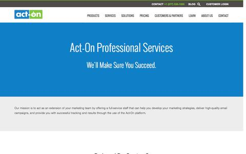 Screenshot of Services Page act-on.com - Act-On Professional Services - captured Oct. 28, 2014
