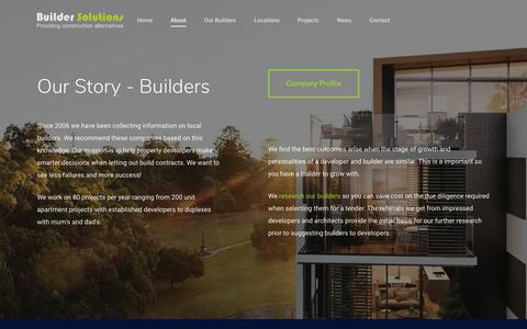 Screenshot of About Page buildersolutions.com.au - About Builder Solutions - Local Builders, our Process and Company Profile. - captured Aug. 4, 2018