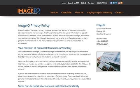 Screenshot of Privacy Page image-iq.com - Contact Us for our Imaging Expertise | ImageIQ - captured Sept. 30, 2014