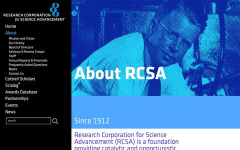Screenshot of About Page rescorp.org - About RCSA - Research Corporation for Science Advancement - captured Feb. 15, 2016