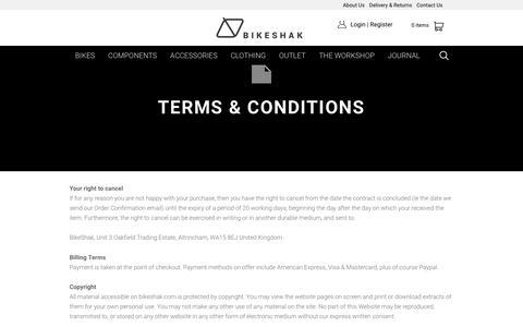 Screenshot of Terms Page bikeshak.com - Terms & Conditions - Bikeshak Altrincham - captured Nov. 20, 2016