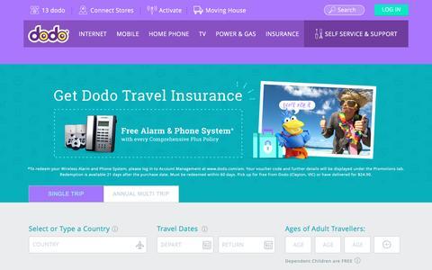 Screenshot of FAQ Page dodo.com - Travel Insurance FAQS - captured Nov. 23, 2016