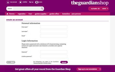 Screenshot of Signup Page theguardian.com - Create New Customer Account - captured Aug. 28, 2016