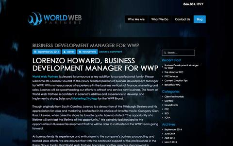Screenshot of Blog worldwebpartners.com - Blog | World Web Partners - captured Oct. 26, 2014