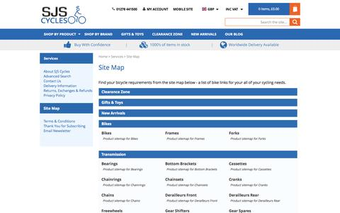 Screenshot of Site Map Page sjscycles.co.uk - Site Map - captured Aug. 2, 2015