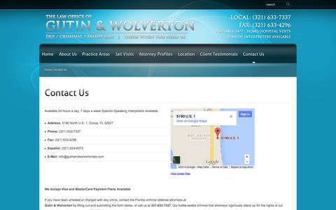 Screenshot of Contact Page brevardcountyduilawyer.net - Cocoa Beach Lawyers   Cocoa Beach Attorneys   Cocoa Beach DUI Defense   Cocoa Beach Criminal Law   Gutin & Wolverton - captured Oct. 6, 2014