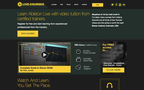 Screenshot of Home Page live-courses.com - Ableton Live Courses, Ableton Live Tutorials, Tips, Lessons, Live-Courses - captured Sept. 18, 2015