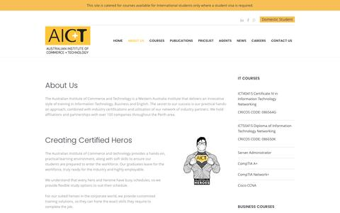 Screenshot of About Page aict.wa.edu.au - About Us - AICT - captured Nov. 19, 2016