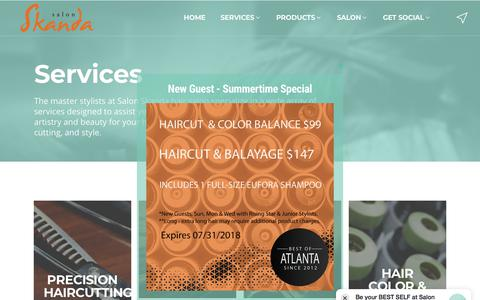 Screenshot of Services Page salonskanda.com - Hair Salon Services | Salon Skanda | Atlanta, GA - captured July 27, 2018