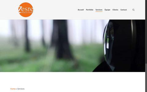 Screenshot of Services Page zesteprod.tv - Services Zeste productions vidéo - Montréal - captured Oct. 18, 2018