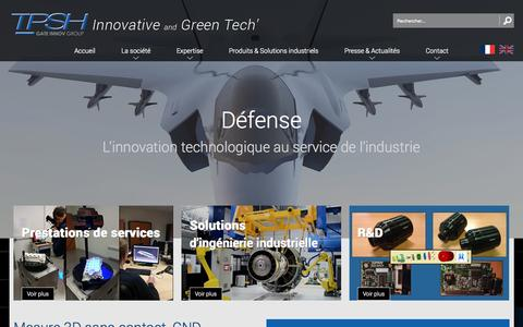 Screenshot of Home Page tpsh.fr - Tpsh - Métrologie, Mesure 3D sans contact, CND, Automatisation de procédés industriels - captured Aug. 3, 2015