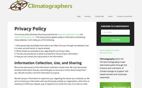 Screenshot of Privacy Page climatographer.com - Privacy Policy – The Climatographers - captured Feb. 18, 2016