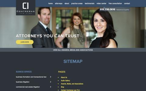 Screenshot of Site Map Page contreraslawfirm.com - Sitemap - Contreras Law Firm - captured Oct. 3, 2014