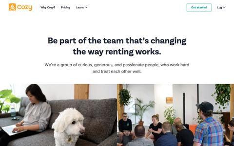 Screenshot of Jobs Page cozy.co - Jobs at Cozy - captured July 21, 2018