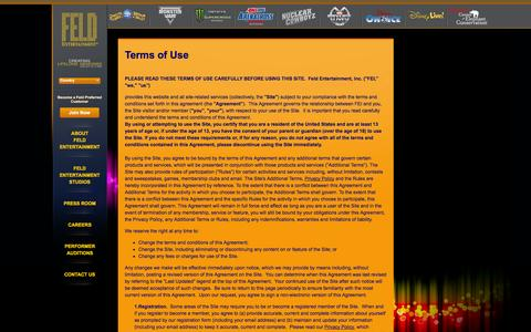 Screenshot of Terms Page feldentertainment.com - Terms of Use - captured Sept. 19, 2014