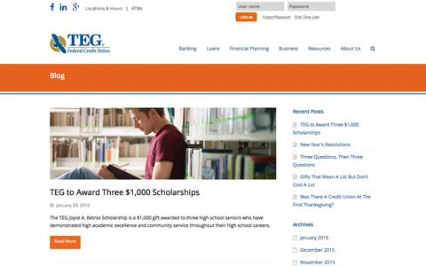 Screenshot of Blog tegfcu.com - Blog – TEG Federal Credit Union - captured Feb. 16, 2016