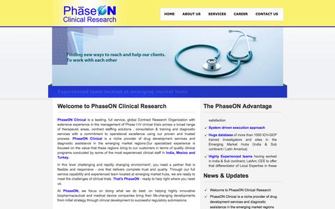 Screenshot of Home Page phaseon-clinical.com - PhaseON Clinical Research PVT. LTD. - captured July 28, 2017