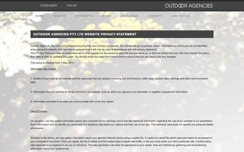 Screenshot of Privacy Page outdooragencies.com.au - Privacy - Outdoor Agencies - captured Oct. 26, 2014