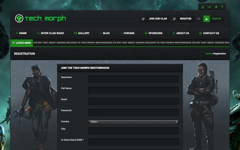 Screenshot of Signup Page tech-morph.com - Registration – Tech-Morph Gaming - captured Dec. 21, 2016