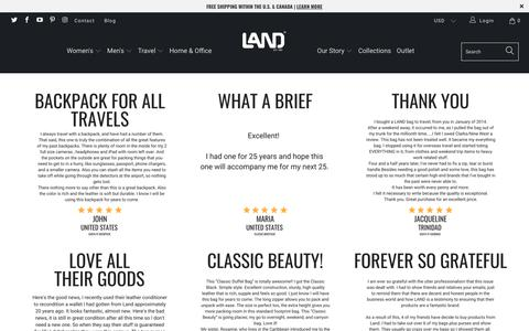 Screenshot of Testimonials Page landleather.com - Testimonials - LAND Leather - captured Sept. 25, 2018