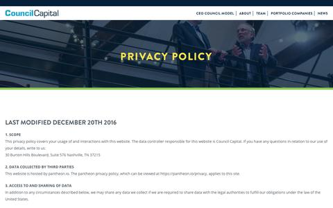 Screenshot of Privacy Page councilcapital.com - Privacy Policy – Council Capital - captured July 22, 2018