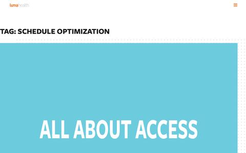 Screenshot of Developers Page lumahealth.io - schedule optimization Archives - Luma Health - captured Jan. 1, 2020