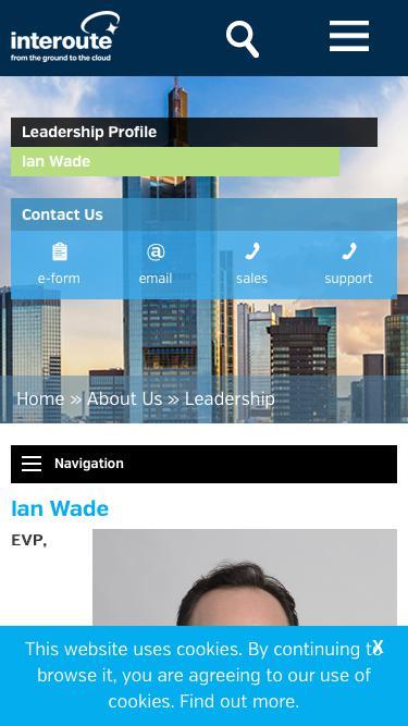 Screenshot of Team Page  interoute.com - Ian Wade | EVP Corporate Development | Interoute