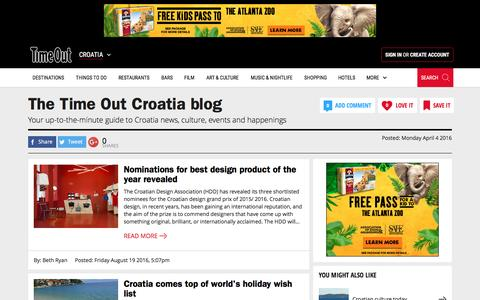 Screenshot of Blog timeout.com - The Time Out Croatia blog | Blogging on Croatia | Time Out Croatia - captured Aug. 28, 2016