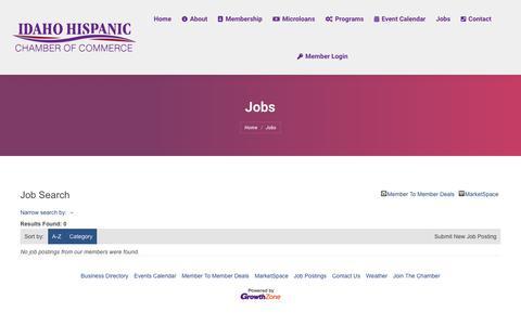 Screenshot of Jobs Page idahohcc.com - Job Search - Jobs – Idaho Hispanic Chamber of Commerce - captured Oct. 11, 2018