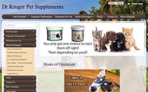 Screenshot of Hours Page drkruger.com - Hours of Operation | Dr Kruger Pet Supplements - captured June 30, 2018
