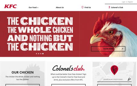 Screenshot of Home Page kfc.co.uk - KFC |   Homepage - captured Oct. 15, 2017