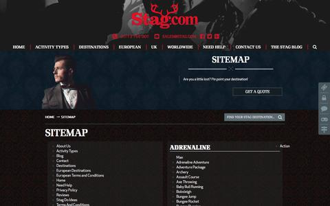 Screenshot of Site Map Page stag.com - Pin point your destination using our Sitemap - captured Oct. 23, 2017