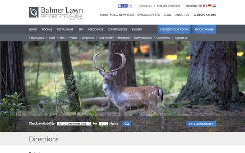 Screenshot of Maps & Directions Page balmerlawnhotel.com - Directions to the Balmer Lawn New Forest Hotel - captured Dec. 29, 2015