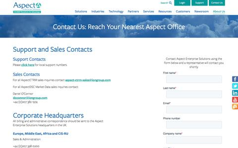Screenshot of Contact Page aspectenterprise.com - Aspect Enterprise Solutions - Contact Us at the Nearest Aspect Enterprise Solutions Location - captured Nov. 9, 2019