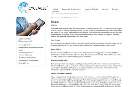 Screenshot of Privacy Page cyclacel.com - The Cyclacel Website privacy policy - captured June 22, 2015