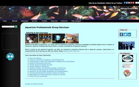 Screenshot of Services Page aquariumprofessionals.com - Services Offered by Aquarium Professionals Group - captured Oct. 4, 2018