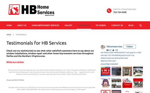 Screenshot of Testimonials Page hb-service.biz - HB Home Services Testimonials | Northern VA HB Home Services Testimonials | HB Home Services - captured Sept. 25, 2018