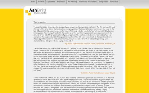 Screenshot of Testimonials Page ashbritt.com - Testimonials - captured Oct. 4, 2014