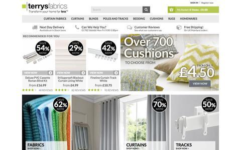 Screenshot of Home Page terrysfabrics.co.uk - Terrys Fabrics UK | Fabric, Blinds, Curtains, Beds & More! - captured June 13, 2017
