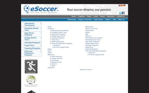 Screenshot of Site Map Page educationsoccertravel.com - myesoccer - captured Feb. 1, 2016