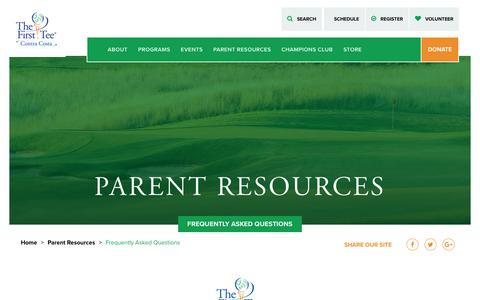 Screenshot of FAQ Page thefirstteecontracosta.org - Frequently Asked Questions - The First Tee of Contra Costa - captured Oct. 20, 2018