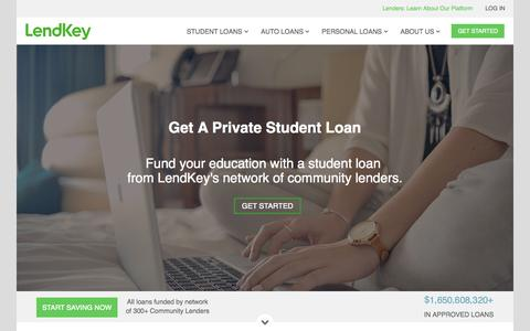 Screenshot of Home Page lendkey.com - Student Loan Refinancing & Private Student Loans | LendKey - captured July 15, 2015