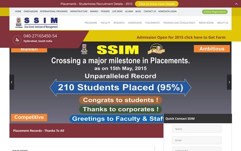 Screenshot of Home Page ssim.ac.in - Management Institute | Best MBA college Hyderabad | Best Institute of management India - captured Aug. 17, 2015