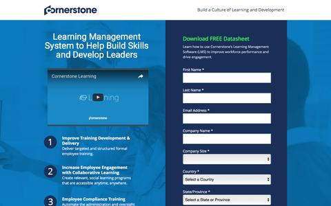 Screenshot of Landing Page cornerstoneondemand.com - Employee Learning Management Software | Cornerstone - captured Nov. 2, 2016