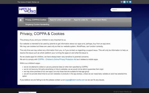 Screenshot of Privacy Page hatch-works.com - Privacy, COPPA & Cookies - Hatch Works - captured Oct. 2, 2014